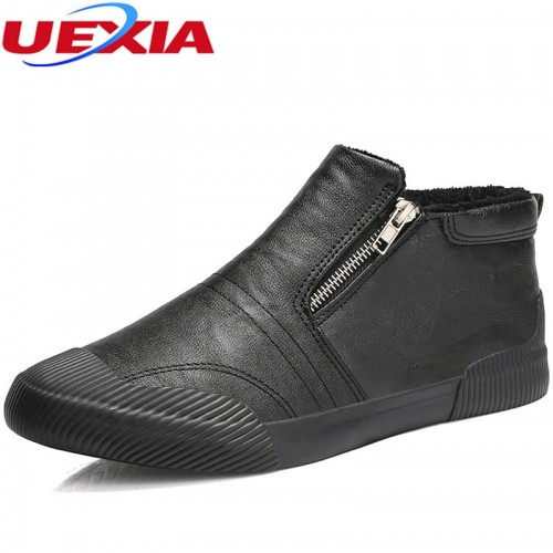 UEXIA Winter Shoes Men Zipper Plush Snow Fashion Casual Shoes Front Anti collision toe Ankle Fur