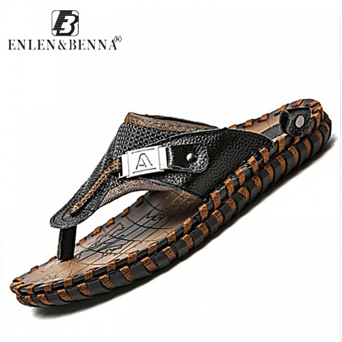 Brand Men s Luxury Flip Flops Genuine Leather Slippers Summer Beach shoes For Men Fashion