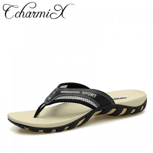 CcharmiX Summer Men Shoes Fashion Mens Flip Flops Trendy Anti slip Leather Men Casual Shoes