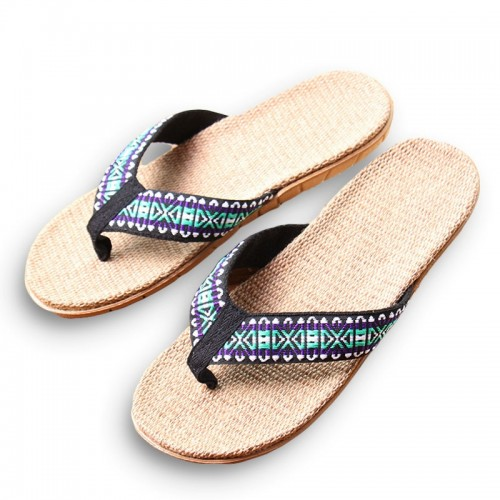 New Summer Linen Men Slippers Ethnic Lattice Fabric Eva Flat Non Slip Flax Flip Flop Home