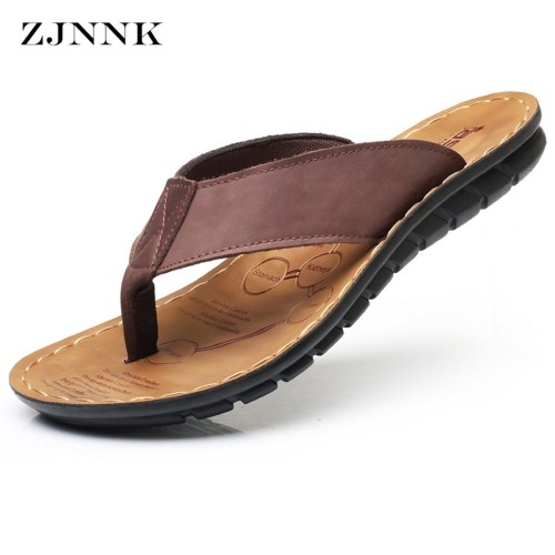 ZJNNK Cow Leather Men Beach Slippers Fashion Flip Flops With Soft Sole Trendy Breathable Easy
