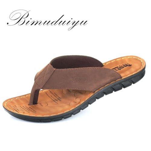 BIMUDUIYU Men Flip Flops Casual Men Shoes Genuine Leather Slippers Summer Fashion Handmade Beach Flip Flops