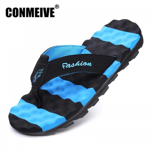 CONMEIVE Summer Men s Flip Flops Fashion Brand Rubber Anti slip Male Beach Slippers Outside Sandals
