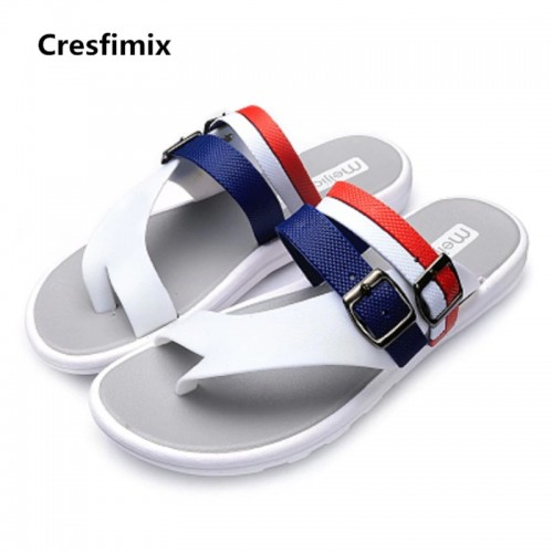 Cresfimix male cool white beach flip flops men fashion spring and summer pu leather flip flops