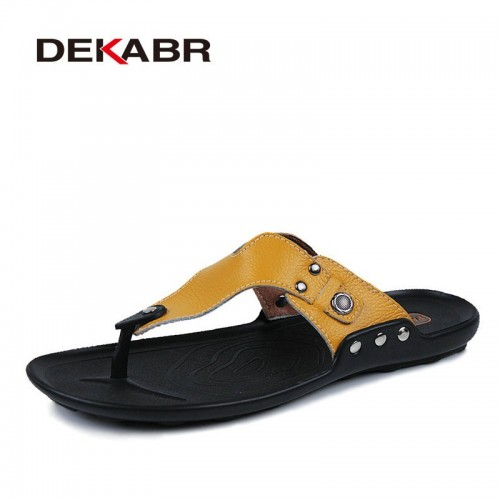 DEKABR Brand Genuine Leather Shoes Men Slippers Summer Deodorant Sandals Casual Men Beach Shoes Fashion Men