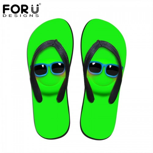 FORUDESIGNS Fashion Men Summer Flip Flops Beach Rubber Slippers Cartoon Emoji Printed Male Sandals Flats Shoes