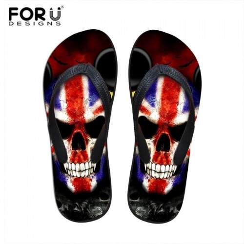 FORUDESIGNS Summer Beach Shoes Fashion Flip Flops Men Cool Skull Pattern Sandals Male Flat Massage Slip