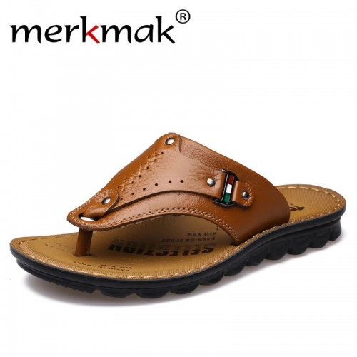 Merkmak Men Flip Flops Genuine Leather Slippers Summer Fashion Beach Sandals Casual Leisure Shoes for Man