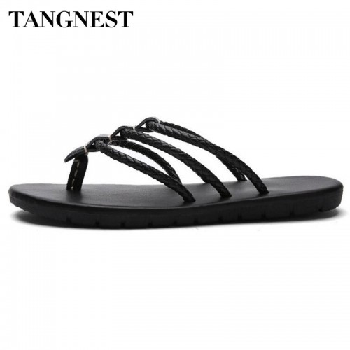 Tangnest New Men Flip Flops Classic Men Summer Fashion Slippers Man Pu Leather Sandals Casual Men