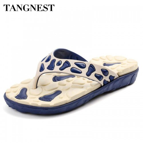 Tangnest Summer Men Massage Slippers Men Non Slip Flip Flops Male Casual Beach Shoes Comfort Slip