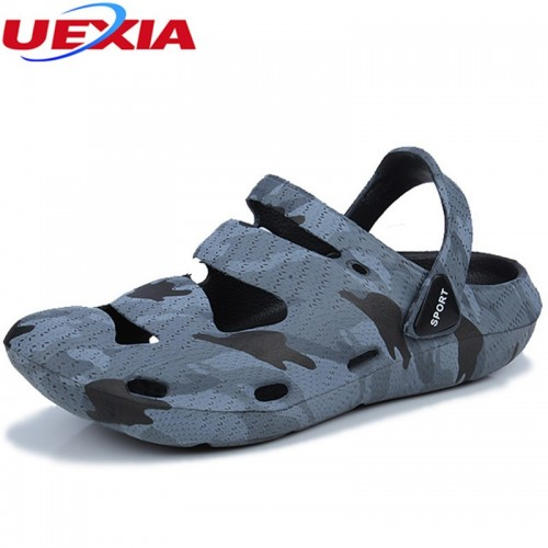 UEXIA New Summer Men Fashion Slides Casual Slippers Shoes Outdoor Beach Breathable Slipper Flats Water Sandalias