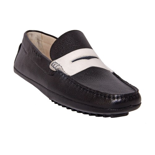 Castillo Genuine Leather Tulip Black White Shoes