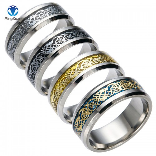 Vintage Gold Dragon 316L stainless steel Mens Ring