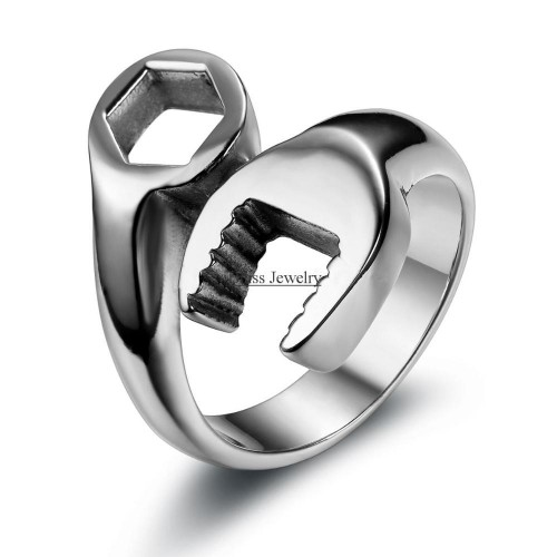 Fashion Cool Biker Mechanic Wrench Stainless Steel Mens Ring Punk Style Rings for men Size 8