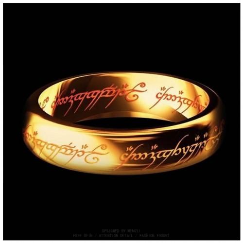 Hobbit Letter Rings Black Stainless Steel the Lord One Rings Titanium Steel 6MM Men Rings