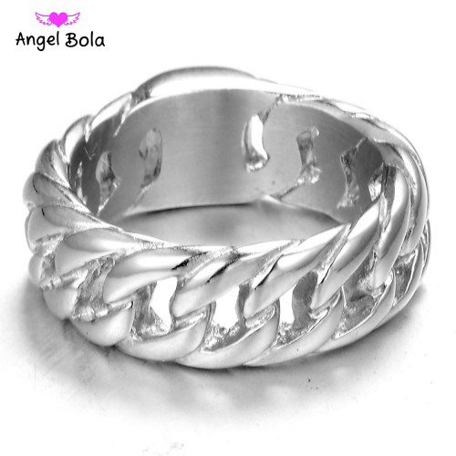 Hot Sale Finger Art Retro Titanium Stainless Steel Buddha Ring Punk Biker Jewelry Wide Chain Ring