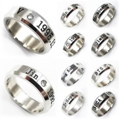 LNRRABC New Fashion Bangtan Boys Idol 1pc Silvery Crystal Mens Rings Titanium Steel BTS JIMIN Pendent