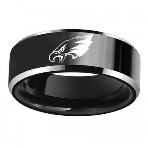 Philadelphia Eagles logo stainless steel ring 316 titanium steel men black ring drop shipping