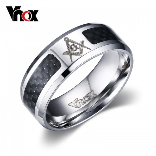 Vnox Masonic Men Ring Stainless Steel Carbon Fiber 8mm Punk Wedding Jewelry US size 4 5