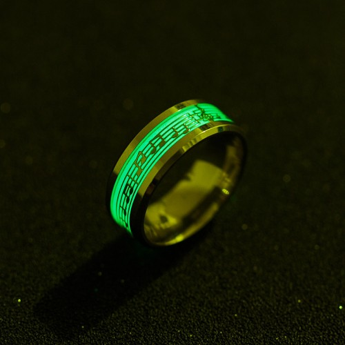 YANGQI Stainless Steel Music Stave Luminous Ring for Men Women Creative Glow in Dark Wedding Band