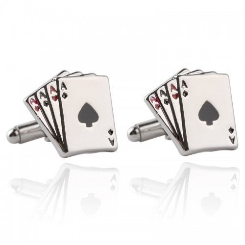 1 pair Fashion Vintage 4A Poker Cufflinks For Men High Quality Exquisite Stainless Steel Silver Cuff