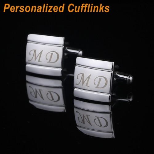 QiQiWu Customized Name Cufflinks Personalized Engraving Metel Cuff links Wedding Cufflink For Mens Jewelry