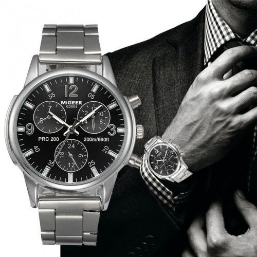 MIGEER Fashion Luxury Men Crystal Stainless Steel Analog Quartz Wrist Watch Bracelet relogios masculino montre