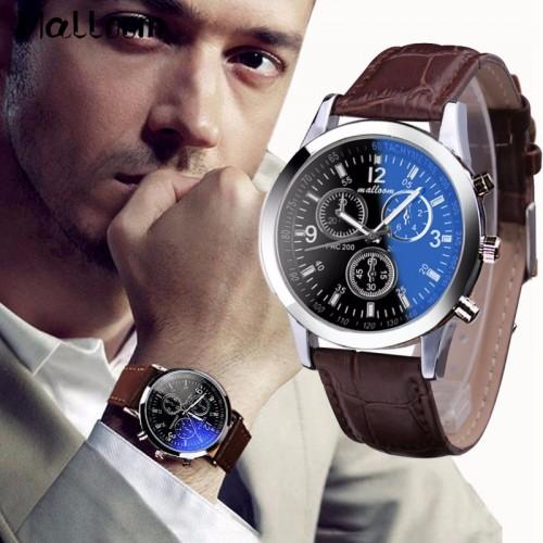 Malloom Mens Roman Numerals Blue Ray Glass Watches Men Luxury Leather Analog Quartz Business Wrist Watch