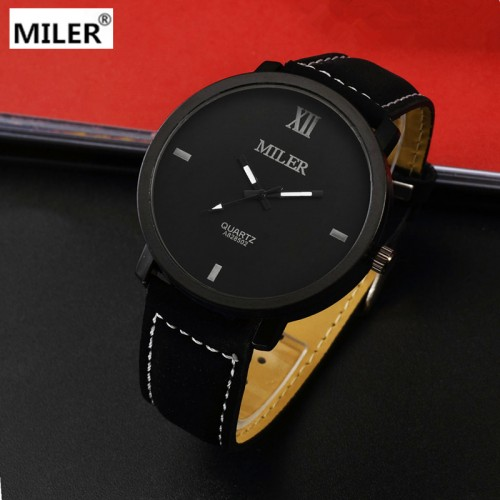 Miler Brand Mens Watches Top Brand Luxury Quartz Male Clock Casual Leather Band Watch Military Wristwatch