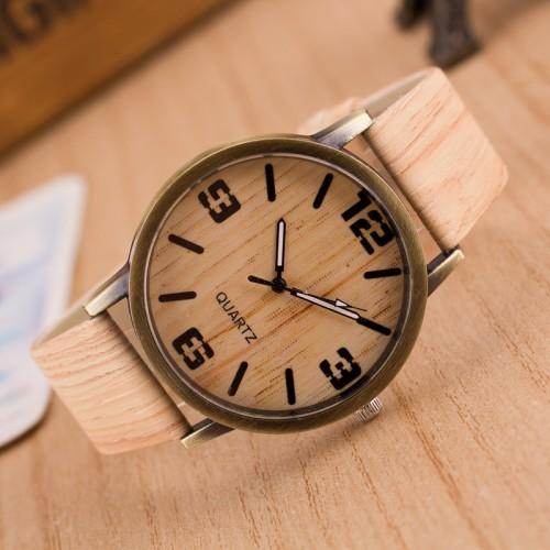 New Design Vintage Wood Grain Watches for Men Women Fashion Quartz Watch Faux Leather Unisex