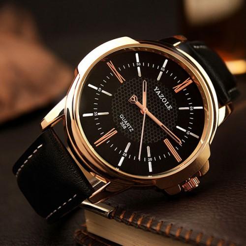 Rose Gold Wrist Watch Men Top Brand Luxury Famous Male Clock Quartz Watch Golden Wristwatch