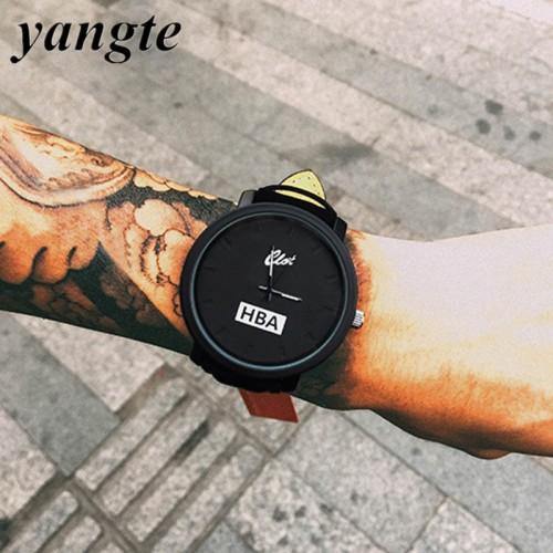 YANGTE Fashion HBA Leather Strap Unisex Watches Men Quartz Women Dress Watch Sports Military Relojes Geneva