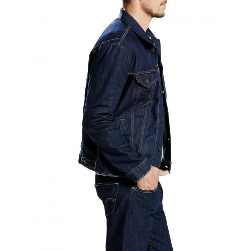 Men Jean Jackets Dark Blue Turn Down Collar Denim Jacket Fashion Outwear