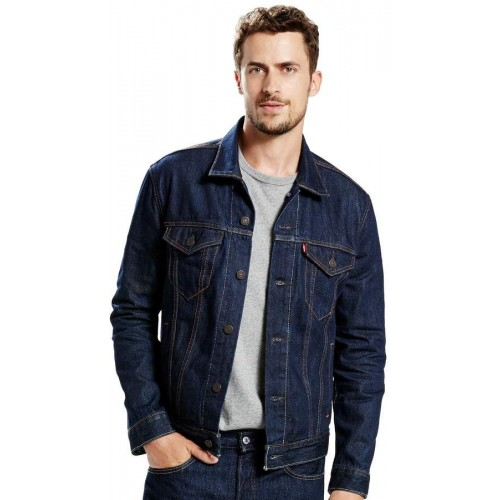 Men Jean Jackets Dark Blue Turn Down Collar Denim Jacket Fashion Outwear