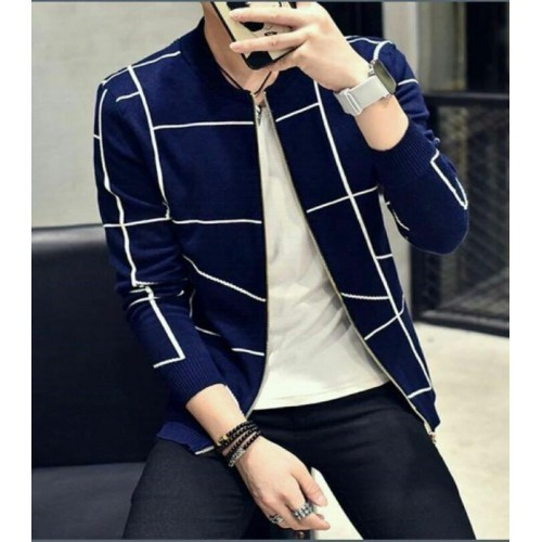 Fashion Men Casual Blazer Autumn Slim Plaid Single Trench Coat