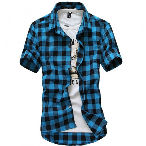 Domeef Men s Plaid Check Short Sleeve Casual Shirt Male Summer Slim Fit Tees M 3XL