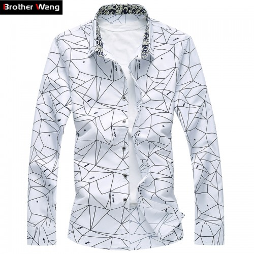 Men Printed Long Sleeve Shirt Slim Business Leisure Shirt Plus Size 5XL 6XL 7XL Male Casual