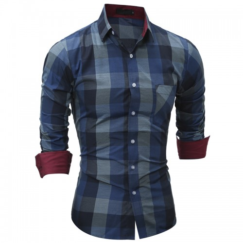 Men s Plaid Casual Shirt New Fashion Men Clothes Slim Fit Men Long Sleeve Shirt Cotton
