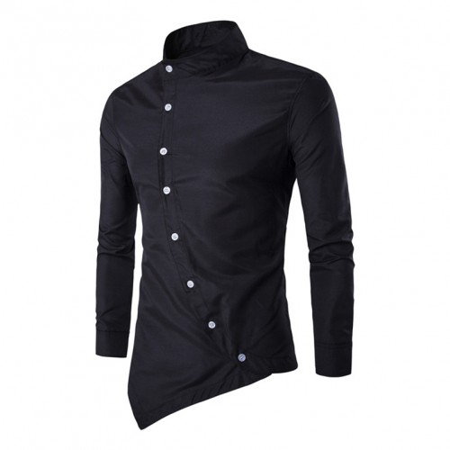 Men s Stand Collar Shirts Long Sleeve Asymmetric Hemline Solid Single Button Slim Fit Plus Size