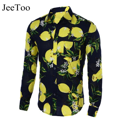 Mens Shirts Hot 2017 Fashion Long Sleeve Print Floral Shirt Men Slim Fit Shirts Men s