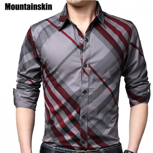 Mountainskin Casual Striped Men Shirts Slim Fit Male Social Shirts 4XL Brand Long Sleeve Business Shirt