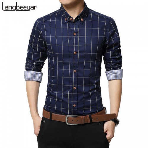 New Autumn Fashion Brand Men Clothes Slim Fit Men Long Sleeve Shirt Men Plaid Cotton Casual