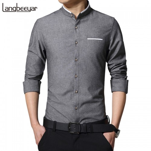 New Fashion Casual Men Shirt Long Sleeve Mandarin Collar Slim Fit Shirt Men Korean Business Mens