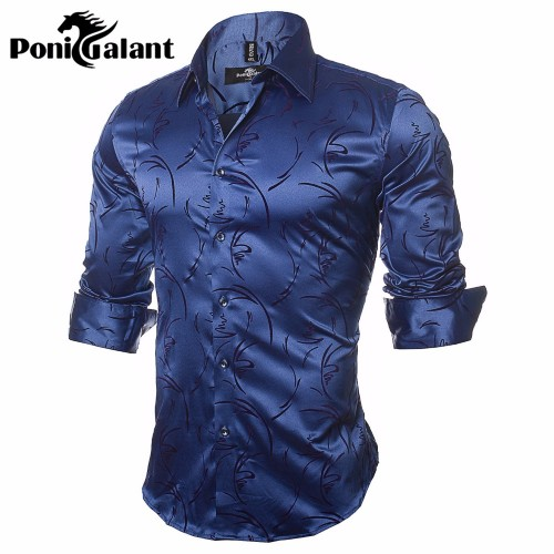 PoniGalant High Quality Silk Cotton Men Shirts Fashion Long Sleeve Brand Printed Male Clothing Asian Size