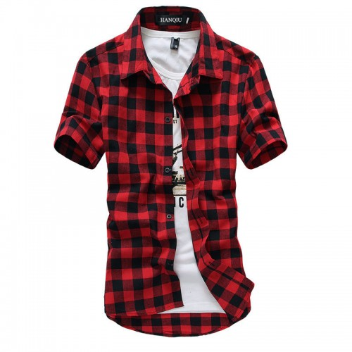 Red And Black Plaid Shirt Men Shirts 2017 New Summer Fashion Chemise Homme Mens Checkered Shirts