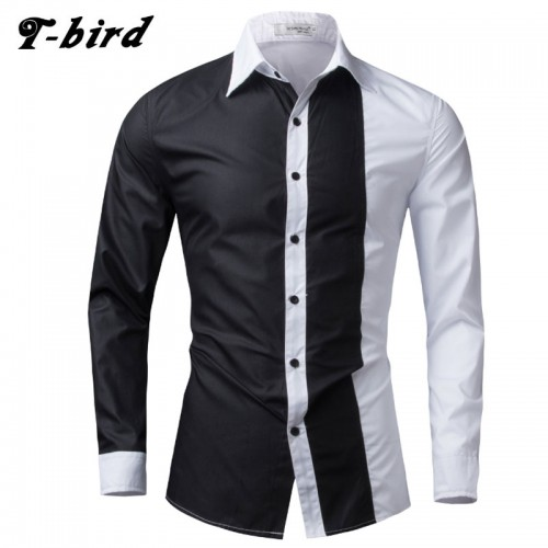 T Bird 2017 Fashion Brand Men Shirt Black White Dress Shirt Long Sleeve Slim Fit Camisa