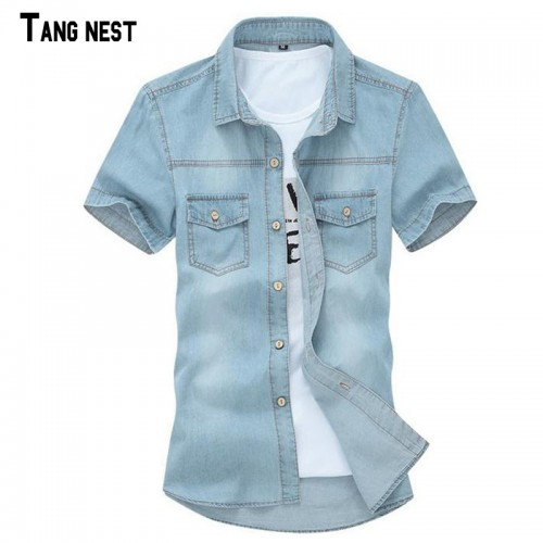 TANGNEST 2017 Hot Sale Men s Solid Short sleeved Shirt Male Casual Comfortable Korean Style Turn