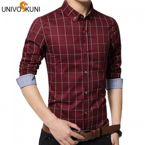 UNIVOS KUNI Chemise Fashion 5xl New Long Sleeve Plaid Shirts Fashion Dress Men Shirt Slim Chemise