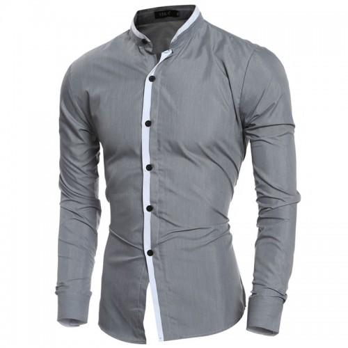2016 Fashion Mandarin collar Solid Mens Dress Shirts Long sleeve Slim Fit Casual Social Camisas Masculinas