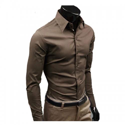 2016 Men Shirt British Style Long Sleeve Male Slim Casual Shirts Men s Business Shirt White